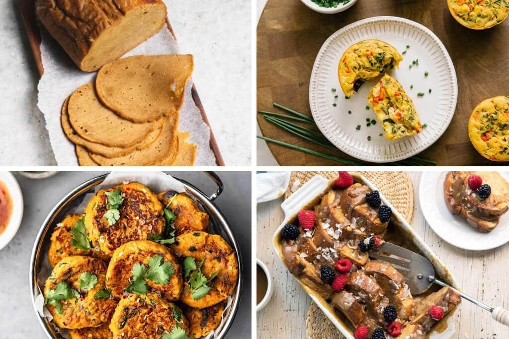 Un collage de 4 fotos de recetas con harina de garbanzos en carne vegana, buñuelos, tostadas francesas veganas y mini tazas de quiche.
