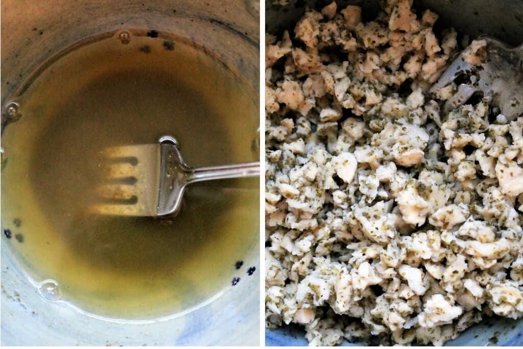 El proceso de rehidratación de la TVP en el caldo para la ensalada de atún vegana.