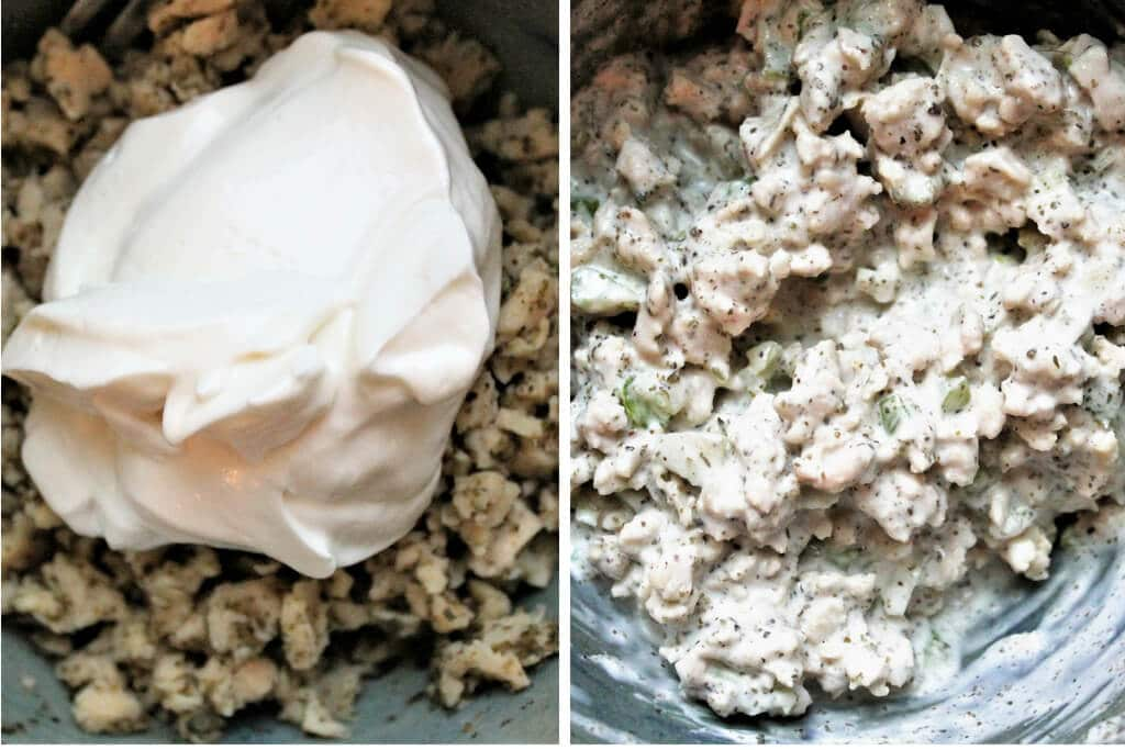 Dos fotos que muestran el proceso de añadir la mayonesa vegana a la mezcla de TVP para hacer sándwiches veganos de ensalada de atún.