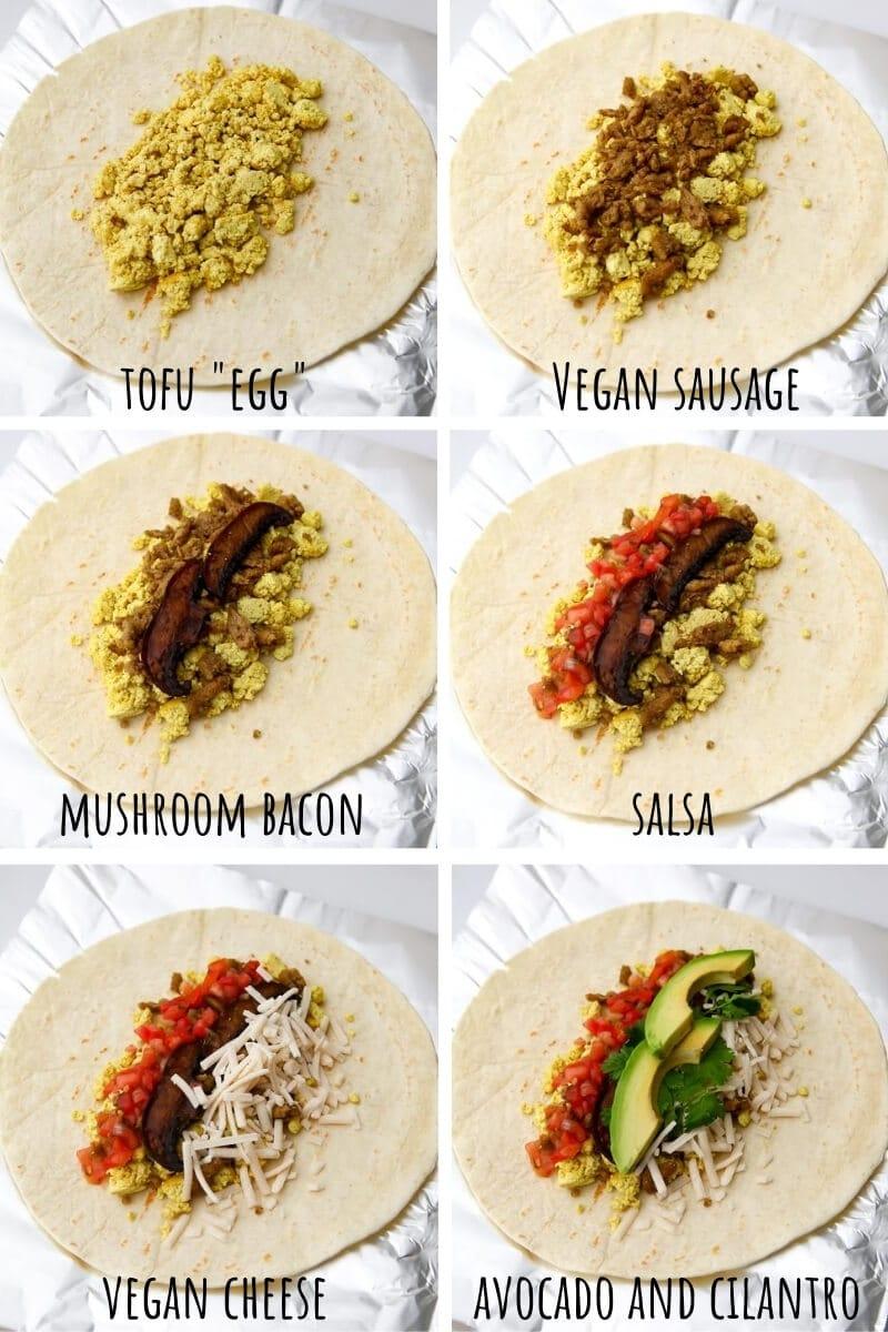 Un collage de 6 fotos que muestra el proceso de montaje de un burrito de desayuno vegano con huevo de tofu, salchicha vegana, tocino de setas, salsa, queso vegano, aguacate y cilantro.