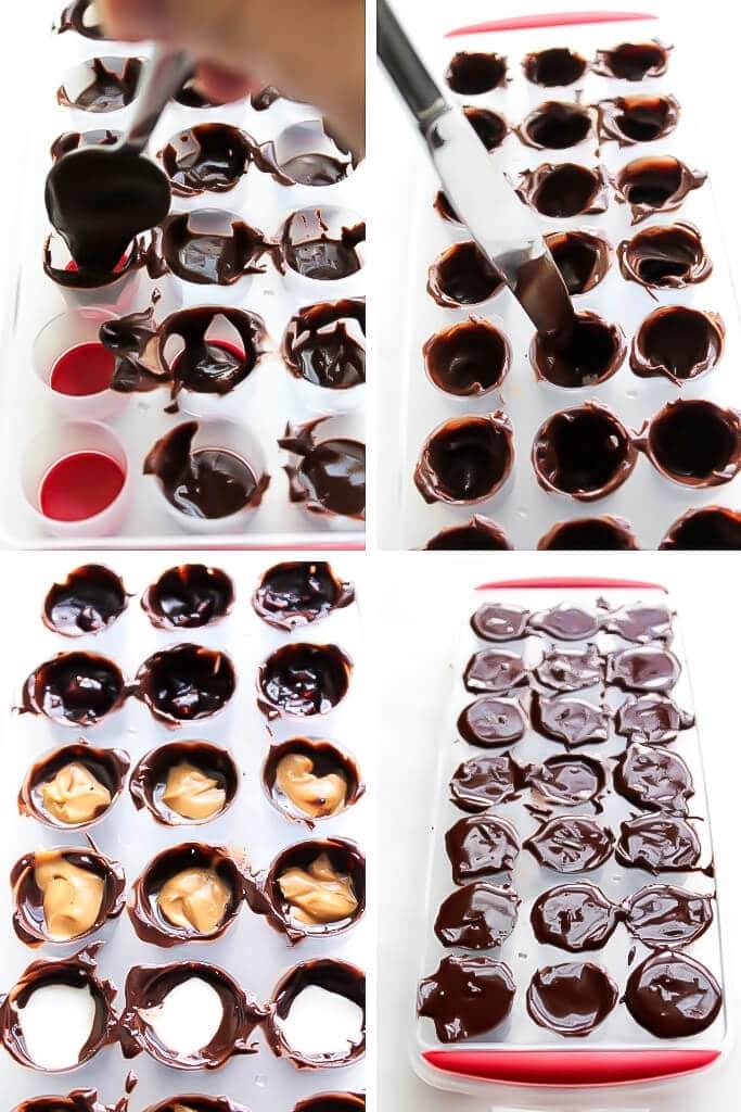 Una serie de 4 fotos que muestran los pasos del proceso de llenar los moldes con chocolate derretido, poner chocolate alrededor de los bordes, rellenar los bombones con mantequilla de cacahuete, jalea y crema de menta, y rematar con más chocolate para hacer bombones veganos caseros.