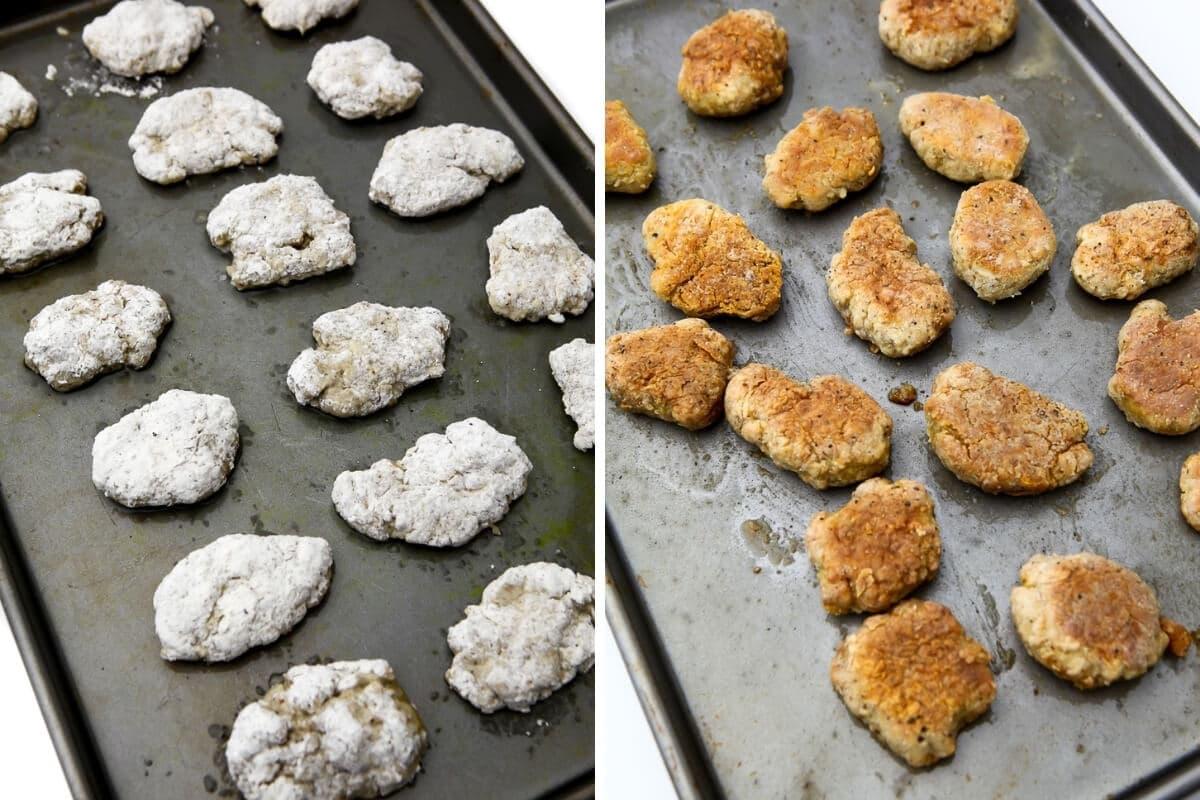 Un collage de 2 fotos que muestran los nuggets de seitán antes y después de la cocción.