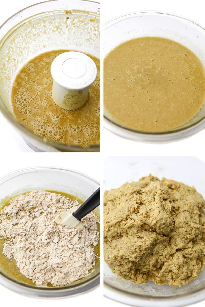 Un collage de 4 fotos que muestran los pasos del proceso para mezclar garbanzos y caldo, añadir gluten de trigo y amasarlo para hacer pollo seitán.
