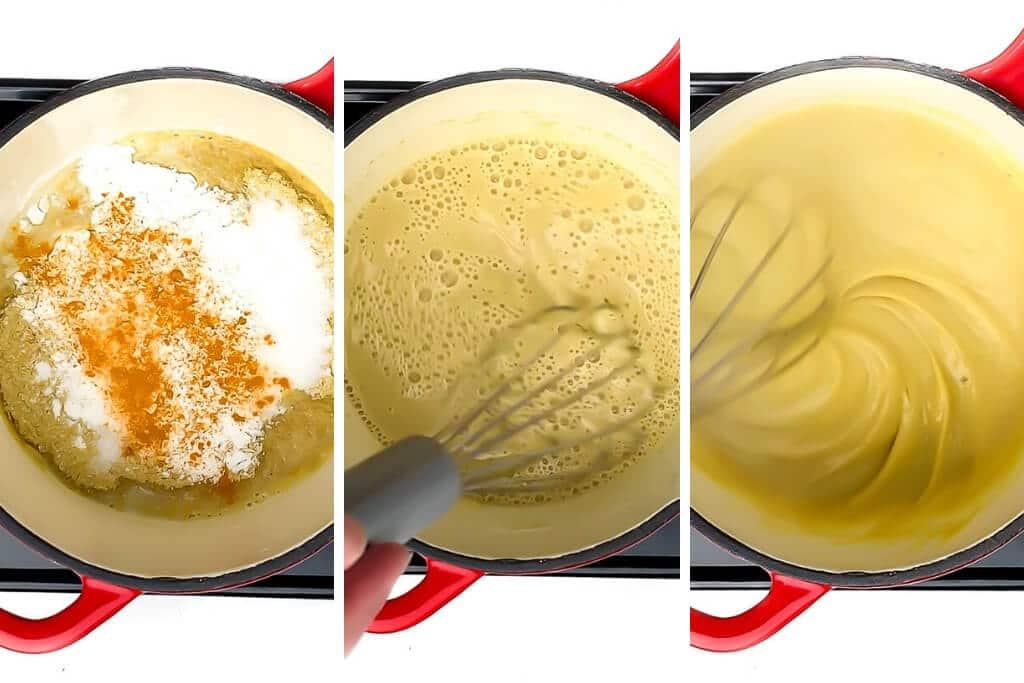 Un collage de 3 imágenes que muestran los pasos del proceso de elaboración de la salsa de queso para nachos vegana sin frutos secos.